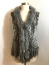NEW DOLCE CABO REAL RABBIT/RACCOON FUR WOMEN'S GRAY VEST SIZE S $269