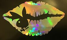 Playboy Bunny Lips Rainbow Holographic Vinyl Car Decal Window Laptop 18-41