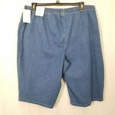 CROFT & BARROW Shorts Skimmer 3X Pull On Mid Rise Cotton Blend Stretch Blue