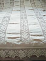 "Amazing Finely Done Irish Crochet Lace Linen 79""x92"" Tablecloth Snowflake Design"