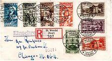 1926 Saar Scott B1-B4 (& others) on registered cover St. Wendel to Chicago