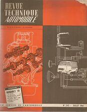 REVUE TECHNIQUE AUTOMOBILE 243 RTA 1966 RENAULT 10 & CARAVELLE 1100 S FIAT 500
