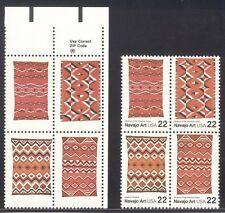 VEREINIGTE STAATEN #2238c Neuwertig Nh - 1986 Navajo Kunst, Schwarz Weggelassen