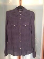 CHROME HEARTS $1295 WOMANS PURPLE/GREEN WESTERN PLAD SHIRT SZ.MED. PRE-OWNED USA
