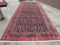 Vintage Traditional Hand Made Oriental Wool Blue Red Long Carpet 457x203cm