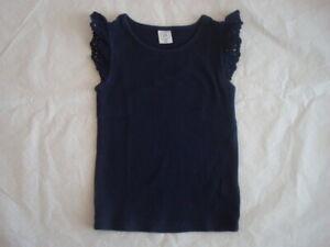 Gap Kids Toddler Girls 4T Lace Ruffle Sleeve Tee Shirt Tops Navy Blue