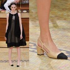AU Spring Women's Sandals Pumps Leather Slingbacks Block Heels Elegant Shoes