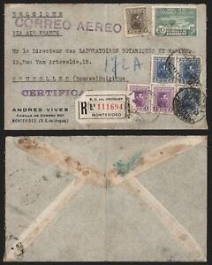 Uruguay 1938 - Registered Air Mail Cover Montevideo to Brussels Belgium D258