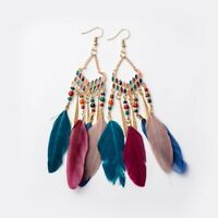 Hook Dangle Feather Long Tassel Earring Bohemian Jewelry Women Beaded Earrings