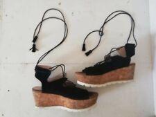 Carvela Kurt Geiger black suede sandals sz 40 UK 6.5 calf lace up wedge platform