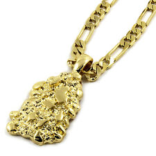 "Mens 14K Gold Plated Nugget Pendant Hip-Hop 5mm/24"" Figaro Chain"