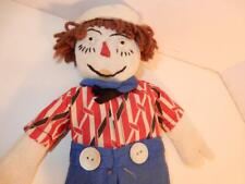 "14"" ANTIQUE RAGGEDY ANDY DOLL 1940s FABRIC HANDMADE CLOTH PRIMITIVE"