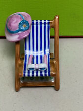 excellent Limoges France Elda Creations beach chair hat glasses trinket box