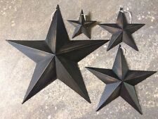 "Set of 4 DISTRESSED BLACK BARN STARS 12"",8"",5"",3"" PRIMITIVE RUSTIC COUNTRY DECOR"