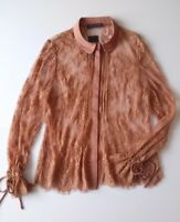 M&S COLLECTION WOMENS SIZE 14 SHIRT BRONZE LACE NEW WITH TAGS