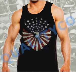 Men's American Eagle Flag Workout Gym Bodybuilding US USA Black Muscle Tank Top