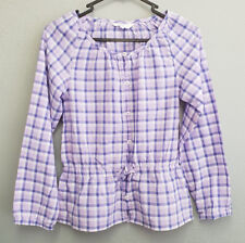 BNWT Girls Sz 8 Mix Brand Lavender Button Soft Long Sleeve Peasant Summer Top