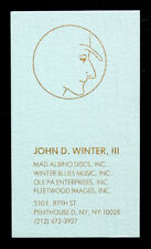 ORIGINAL Vintage JOHNNY WINTER / JOHN D WINTER III Personal Business Card BLUES