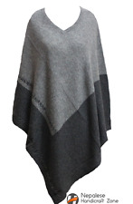 100% Cashmere Poncho - Natural Color Pure Cashmere - Hand Made in Nepal