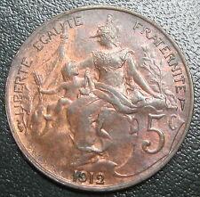 5 centimes 1912 - DANIEL DUPUIS - SPLENDIDE - RARE en l'état