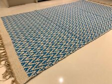 Turquoise Blue Geometric Handmade Recycled Cotton Rich & Jute Kilim Rug Runner