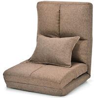Giantex Flip Chair Convertible Sleeper Couch Futon Bed Lounger w/Pillow Coffee