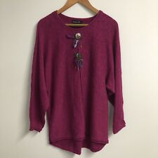 LULU B Womens Fushia BOHO Feather Detail Tunic Sweater Size LARGE