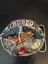Rodeo Belt Buckle Bucking Bull And Cowboy Siskiyou 1985 Williams Oregon Detailed