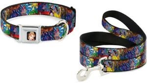 Buckle Down Seatbelt Dog Collar or Leash - BELLE - Beauty Beast Stained Glass