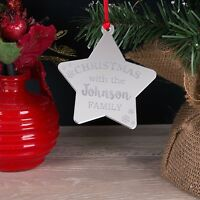 Personalised Mirror Family Christmas Tree Star Decoration Bauble Xmas Gift
