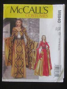 McCALL'S PATTERN - 6940 LADIES COSTUME DRESS WRAP DRAPE SLEEVES BELT 14-22 UNCUT