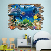 Sea Whale Fish DIY Large Wall Stickers Removable Decoration Decals For Kids Room