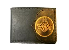Hand-Crafted Masonic / Mason Lodge Leather Billfold Wallet, plus FREE Key Chain