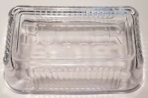 Butter Dish Plate and Lid Clear Glass Heavy