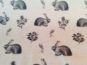 Oilcloth Fabric, PVC Coated, Morris Designs, Meadow Hares, Charcoal, Per Meter