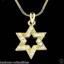 Hanukkah w Swarovski Crystal Gold PL STAR OF DAVID judaism jewish Charm Necklace