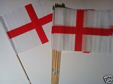 "ST GEORGE ENGLAND FLAGS x12 ON WOODEN STICKS 12"" x 18"" **GOOD QUALITY**"