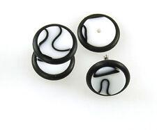 "Fake Ear Plugs ""Marble Style"" 8mm 16G Steel Stem 2pcs, 8 Design"