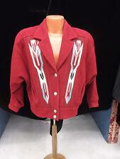Ladies Unisex Burgandy 80s ChimayoBlanket Insets Jacketby Pioneer Wear szMed VLV