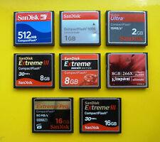 SanDisk Kingston 512MB 1GB 2GB Ultra 8GB 16GB Extreme III Compact Flash CF