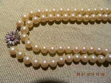 @@@Wunderschöne 900 Silber Verschluss Perlenkette mit lila Stein matter glanz@@@
