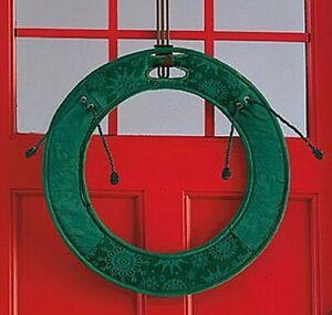 "Christmas Wreath Door Saver 30"" Oversized Green Snowflake Deluxe with Ties NIB"