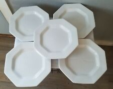 5 Vintage Independence Ironstone Interpace Japan White Octagonal Dinner Plates
