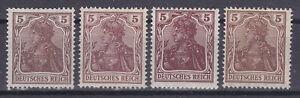 Germany Deutsches Reich 1920 Mi. Nr. 140 5 Pf. 8th Germania Colour Variants MH