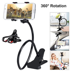 Mobile Phone Flexible Long Stand Holder Clip Gooseneck Bracket Clamp Desk Bed