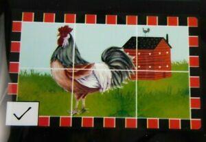 "New Rooster Chicken Red Barn Wall Sticker Backsplash Art 17.7""x 29.5"" Peel Stick"