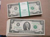 1976 Uncirculated $2 Dollar Bills Two Dollar Bill (Lot of 50)