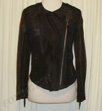 BEAUTIFUL ARTHUR GALAN AG BLACK SILK MOTORBIKE STYLE JACKET AUS 8 US 4