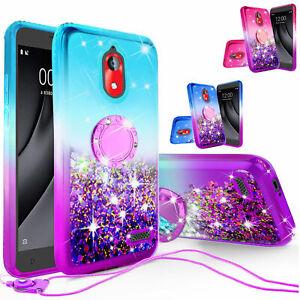Coolpad Illumina/Legacy Go Liquid Glitter Cute Bling Ring Case w/ Tempered Glass