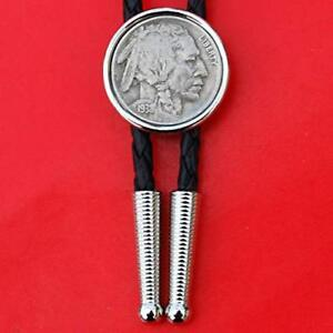 US 1938 Indian Head Buffalo Nickel 5 Cent Coin Silver Plated Bolo Tie NEW
